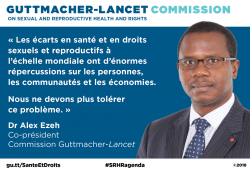 Illustration de la citation du docteur Alex Ezeh sur la Commission Guttmacher-Lancet.