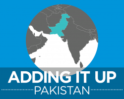"Adding it Up Pakistan image: world map with country of Pakistan highlighted and the words, ""Adding it Up Pakistan"""