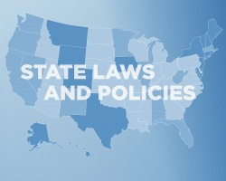 "U.S. map with text ""State Laws and Policies"""